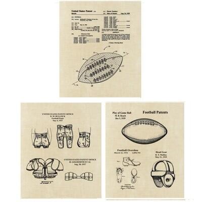 Football Patent Art Prints Three Unframed 8x10