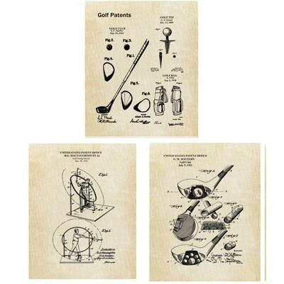 Golf Patent Art Prints Three Unframed 8x10