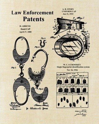 Police Law Enforcement Collage Patent Print Unframed 8x10