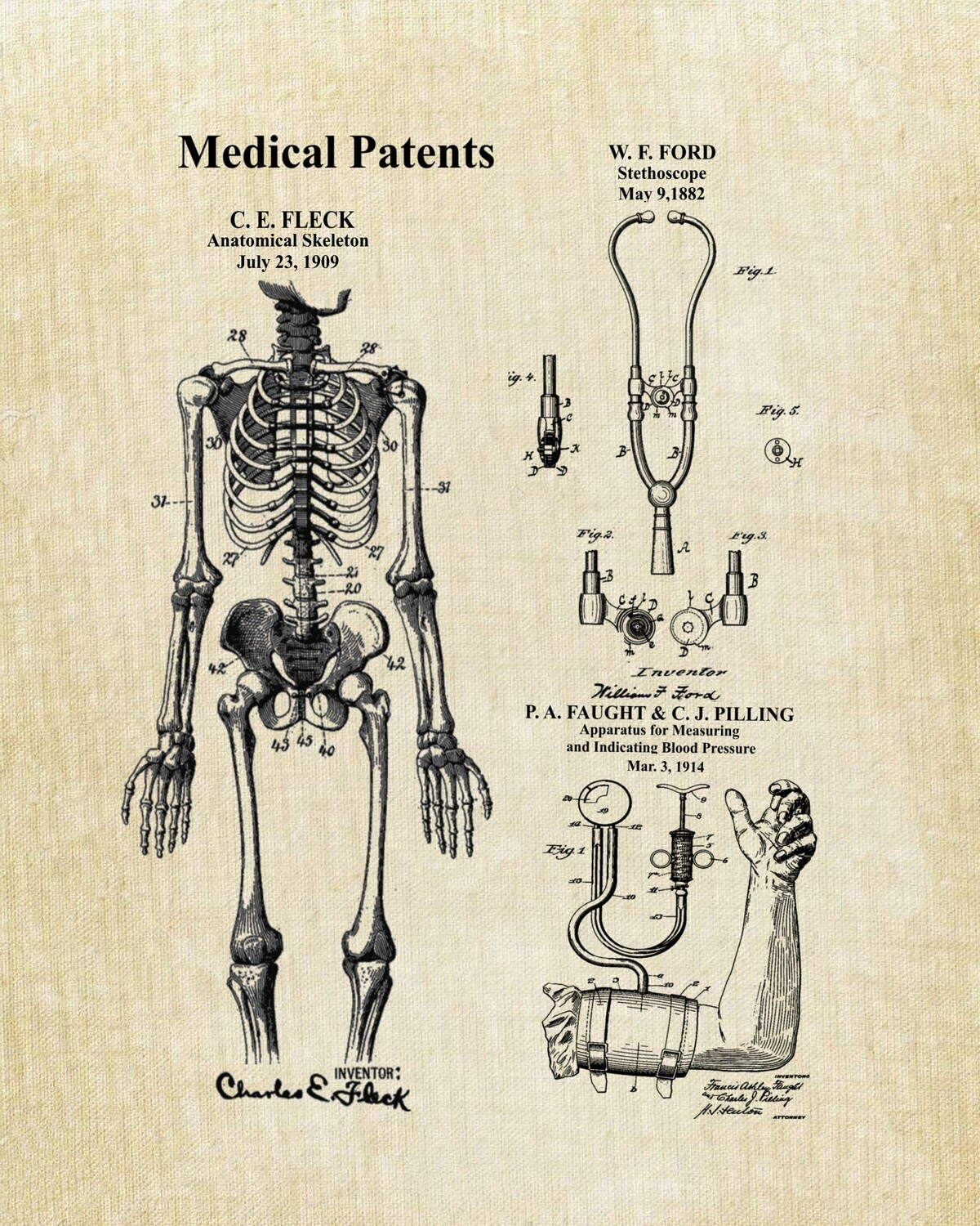 Medical Collage Patent Print Unframed and Ready to Frame