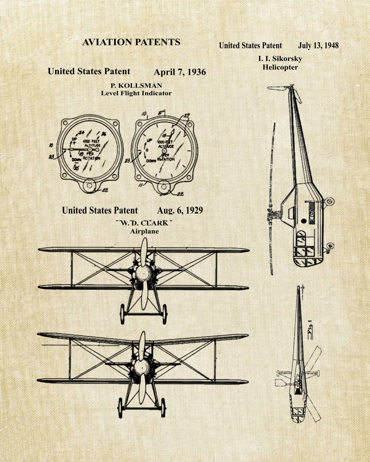 Pilot or Aviation Industry Patent Art Prints Unframed 8x10 - Ready for You to Frame