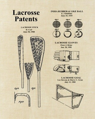 Lacrosse Patent Art Prints Unframed 8x10 and Ready to Frame