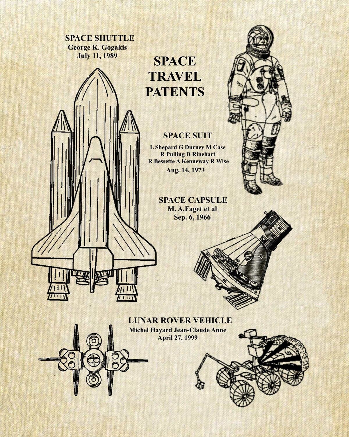 Astronaut or Space Industry Patent Art Print