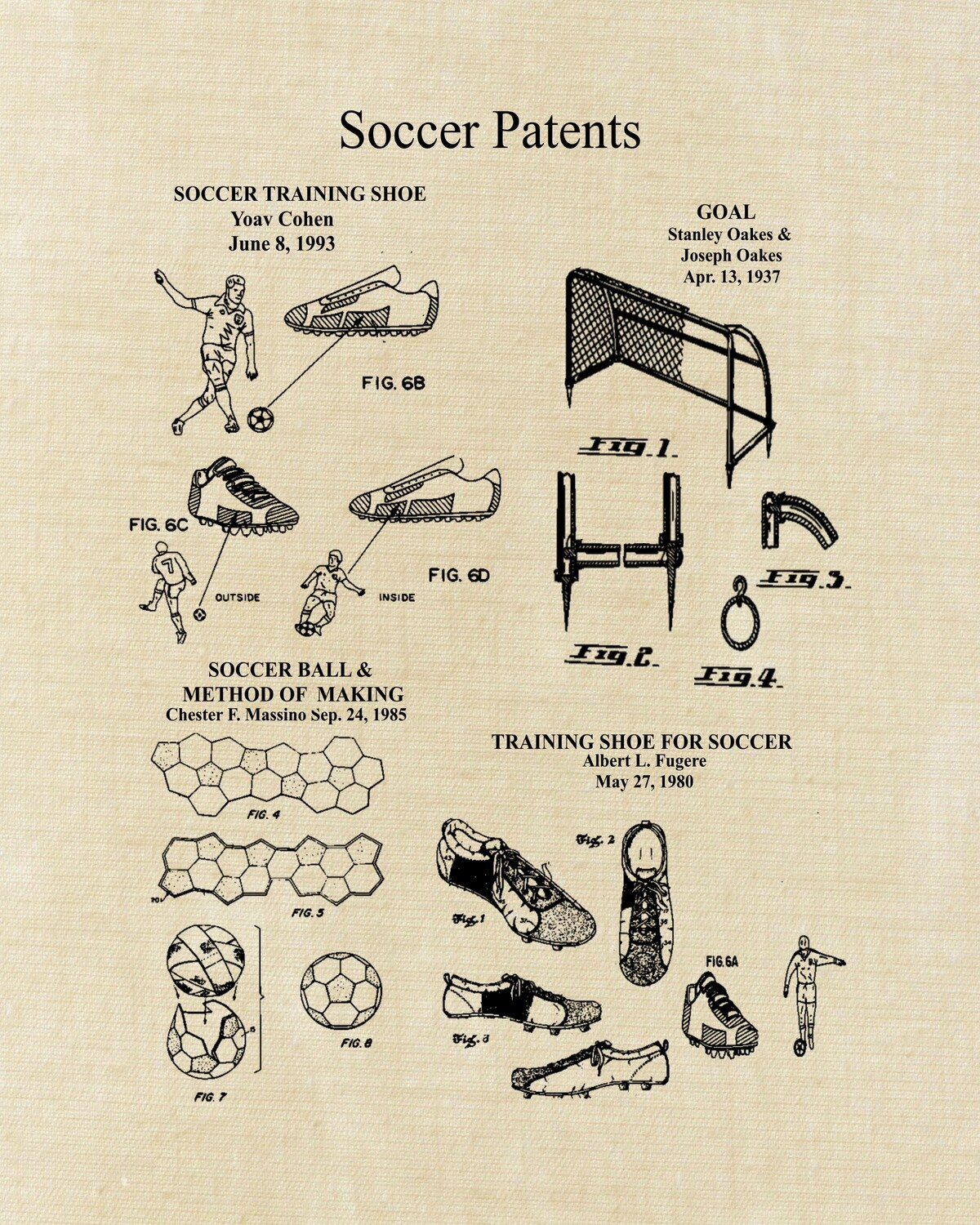Soccer Patent Art Prints Unframed 8x10 and Ready to Frame