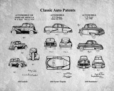 Classic Auto Patents Patent Print - Gray Unframed