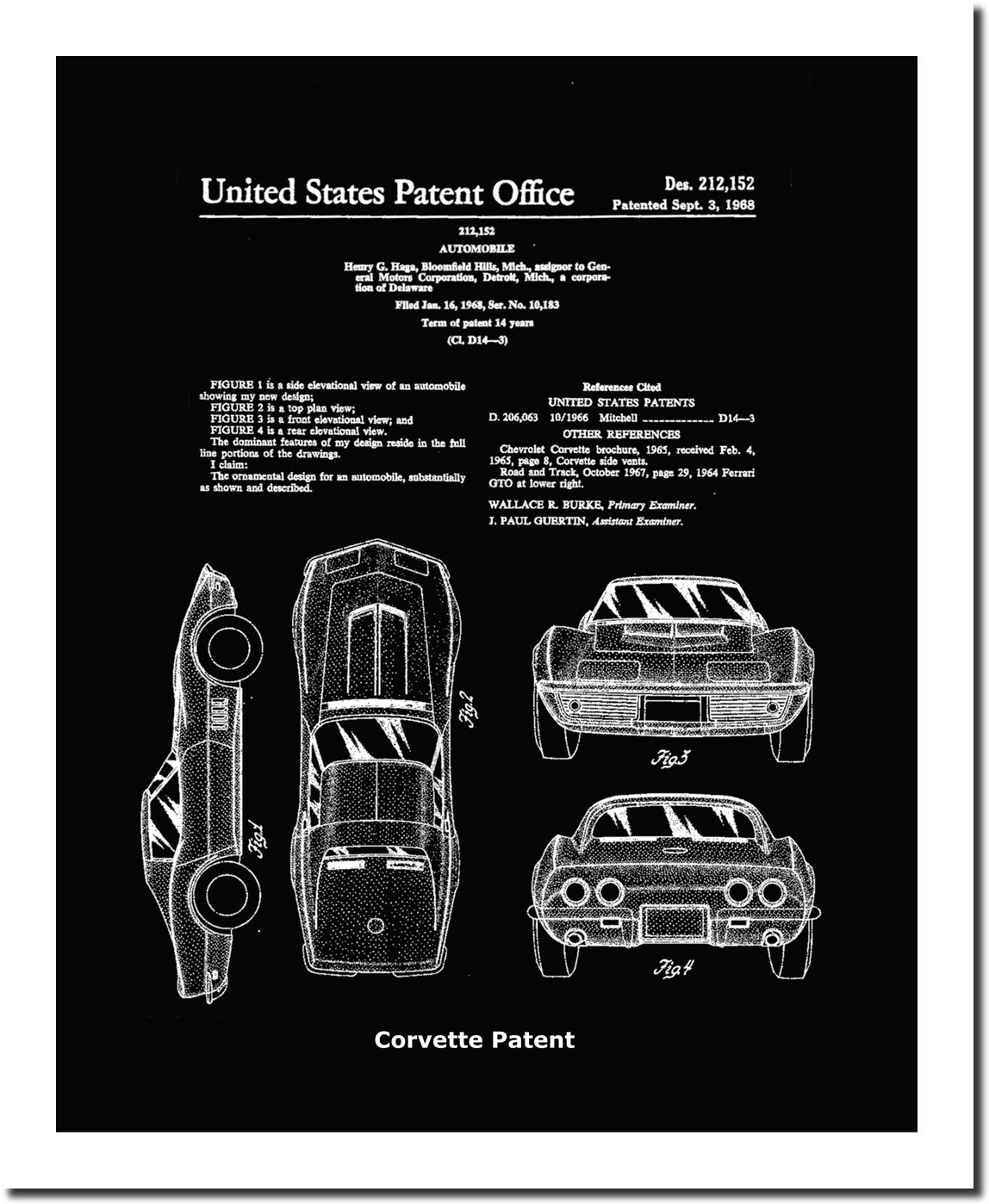 Corvette Patent Art Print - Black  Matted