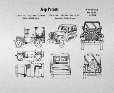 Jeep Collage Patent Print - 8x10 Unframed