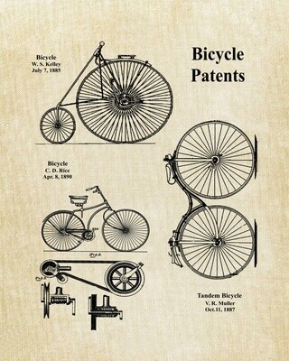 Bicycle Collage Patent Print - Unframed Old Linen Look 8x10 Ready to frame