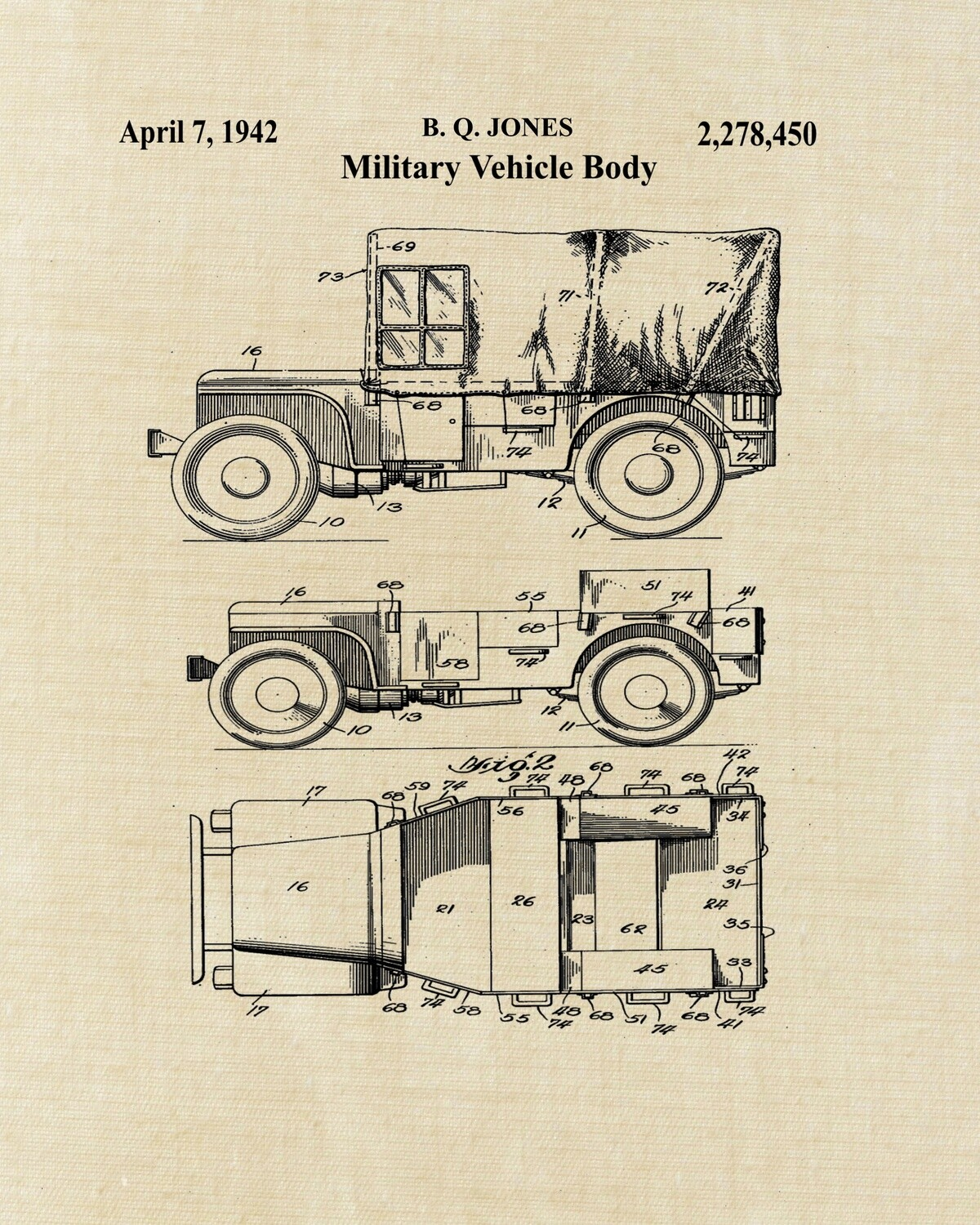 Jeep Military Patent Art Print - Aged Linen Look 8x10 Unframed