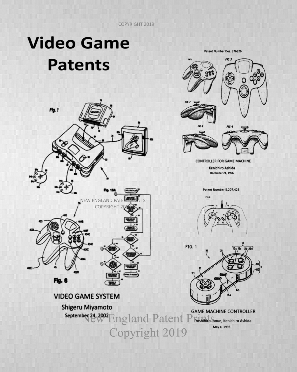 Video Game Collage Patent Print - Unframed