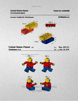 LEGO Blocks & Mini-Figure - Unframed