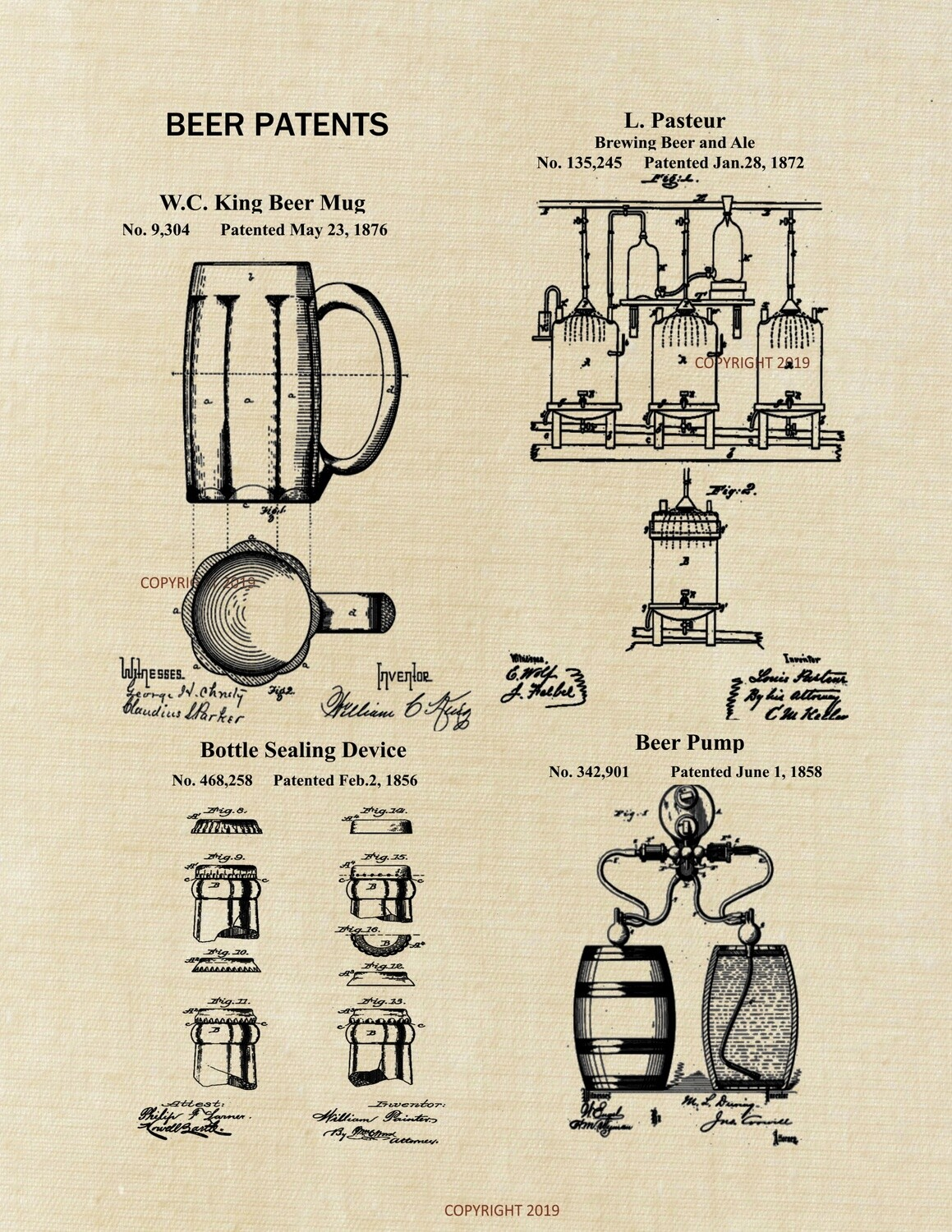 Beer Patent Print 8x10 Unframed
