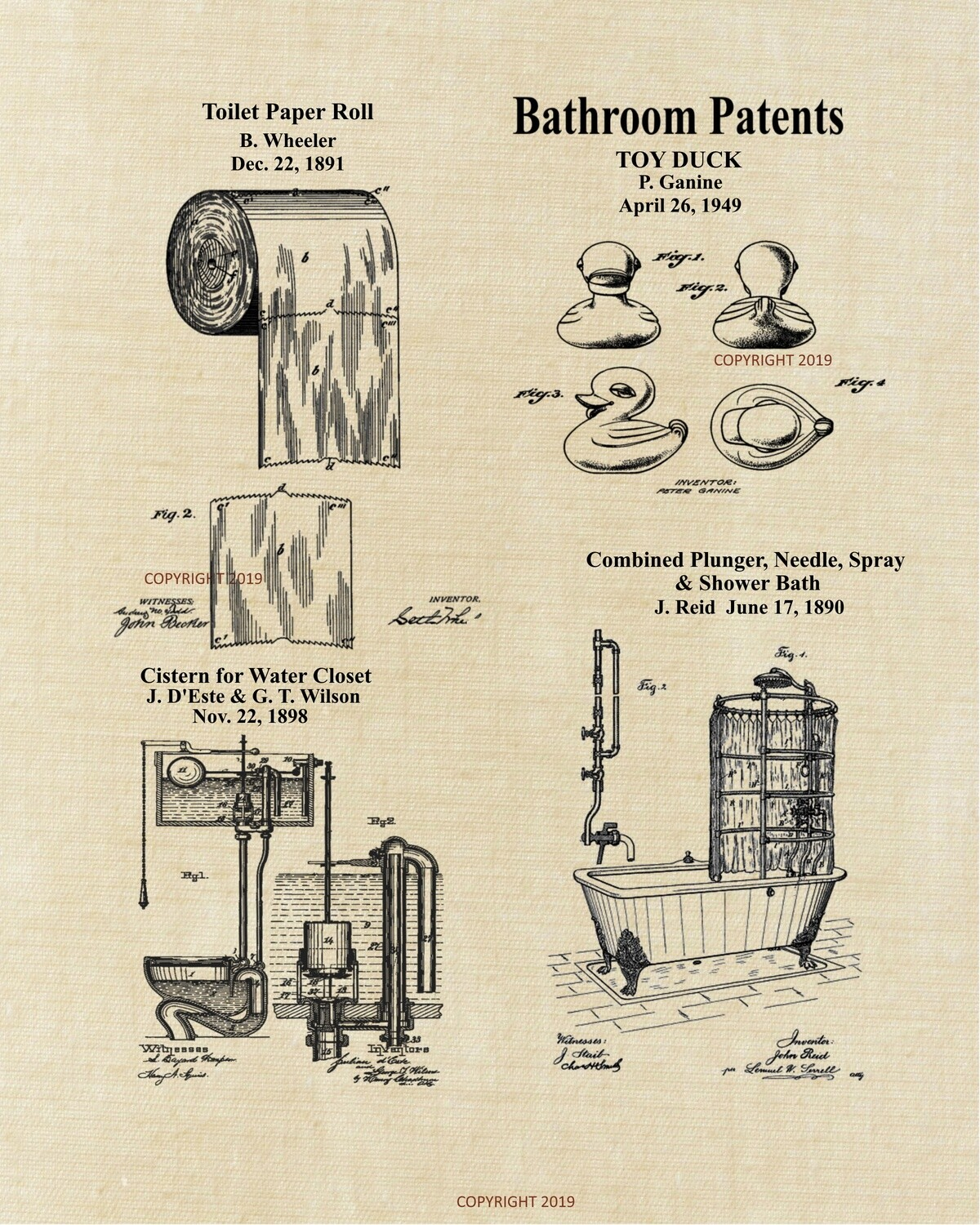 Bathroom Vintage Patent Unframed 8x10 - Aged Linen Look - Ready for Your Frame