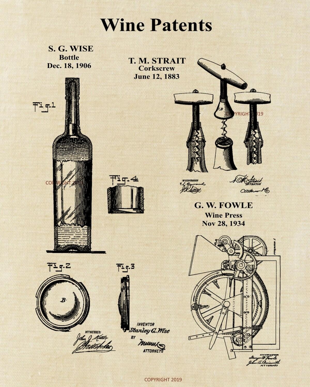 Wine Patent Print Unframed