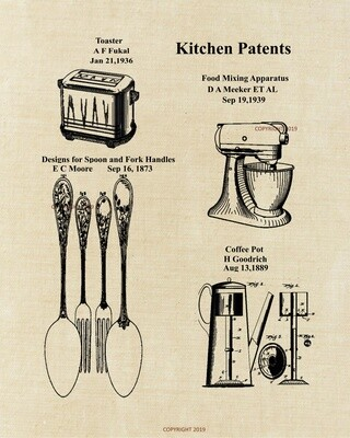 Kitchen Collage Patent Print - Unframed Aged Linen Look