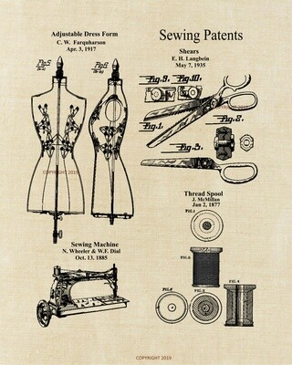 Sewing Collage Patent Print - Unframed 8x10 Aged Linen Look
