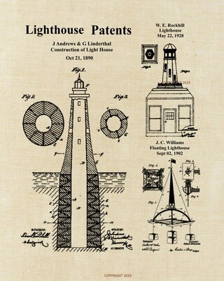 Lighthouse Patent Print Linen Unframed and Ready to Frame