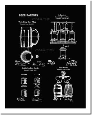 Beer Patent Print 8 1/2 x 11 Matted Unframed Beer Wall Decor Patent Art