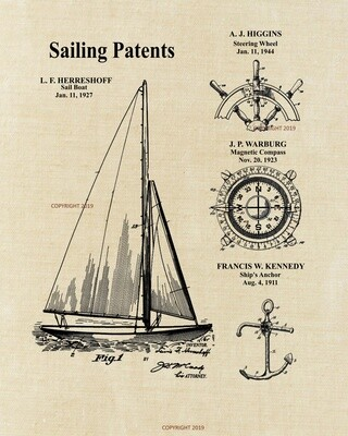 Sailboat Patent Print UnFramed - Linen Look