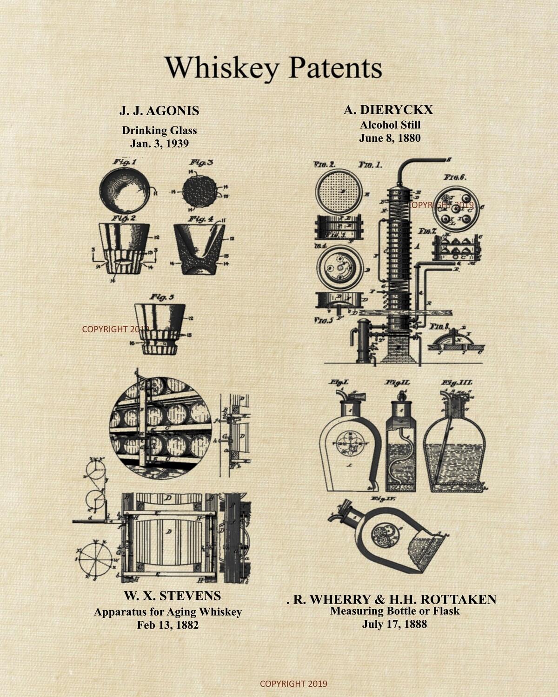 Whiskey Patent Print Unframed
