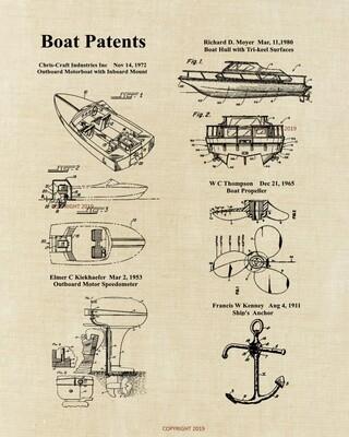 Power Boat Patent Print Framed - Linen Look Unframed