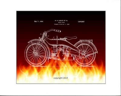 Harley Davidson  Patent Print - Black  & Flames Unframed & Matted to 11x14.