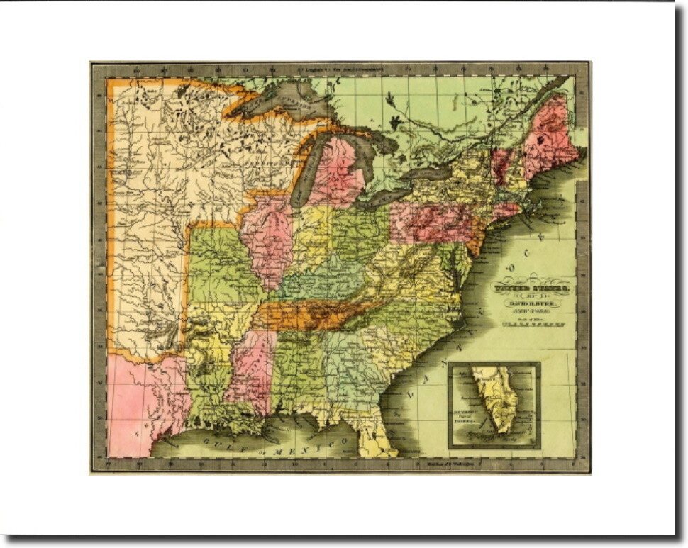 United States by David H. Burr 1833 Unframed & Matted to Fit 11x14 Frame