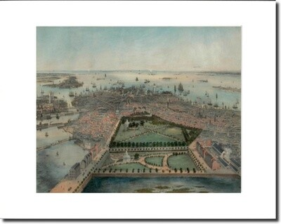 Birds Eye View of Boston - 1850 Unframed and Matted 11x14