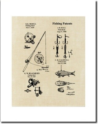 Fishing Collage Patent Print - Linen Look  Matted & Unframed
