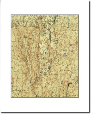 1890 Map of Pre-Quabbin Unframed & Matted to Fit 11x14 Frame