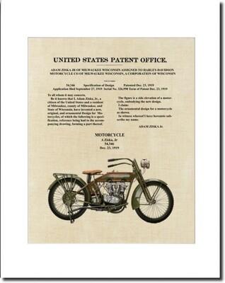 Harley Davidson Patent 1919 Design Patent Matted & Unframed