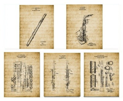 Music Patent Prints – Band & Orchestra Artwork – Woodwinds Set of 5 Unframed 8x10 Reproductions