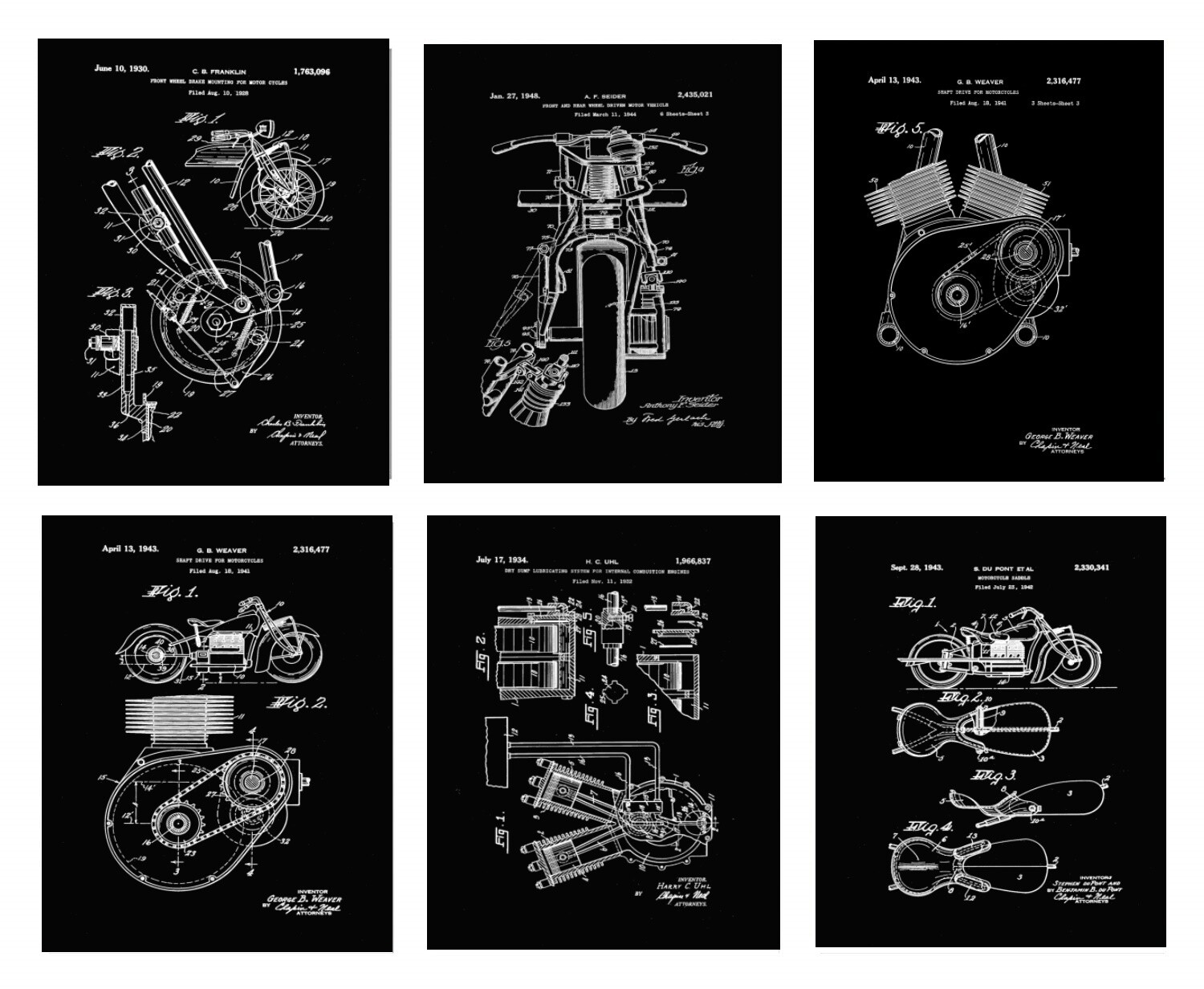 6 Indian Motorcycle Prints
