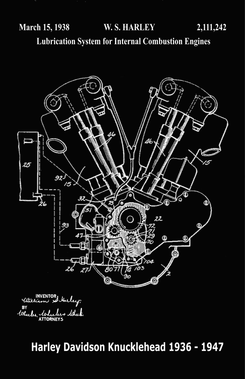 Iconic Harley-Davidson Patent Poster Knucklehead Engine Black & White 11 x 17 Unframed