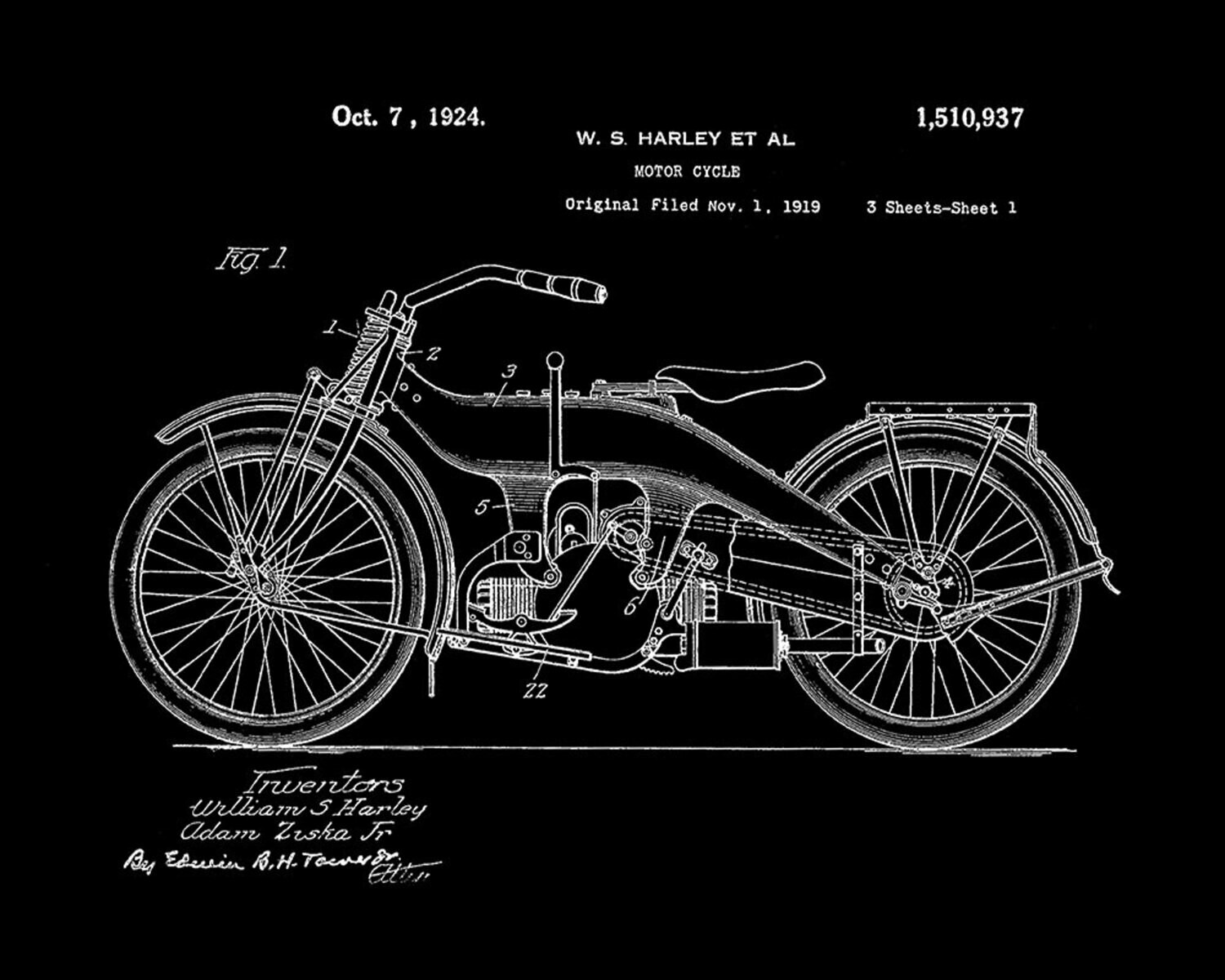Iconic Harley-Davidson Patent Poster Black & White or Flames 11 x 17 Unframed