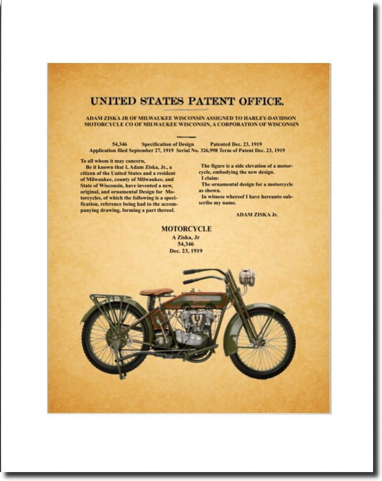 Harley Davidson Patent 1919 Design Patent Old Paper Look Matted & Unframed