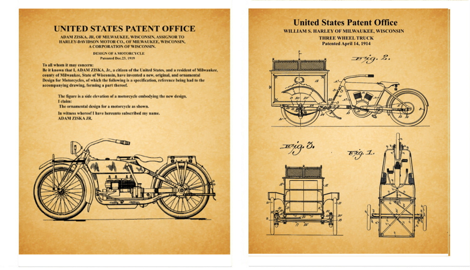 Harley Davidson Early Patents – Two 8x10 Old Paper Look - Unframed