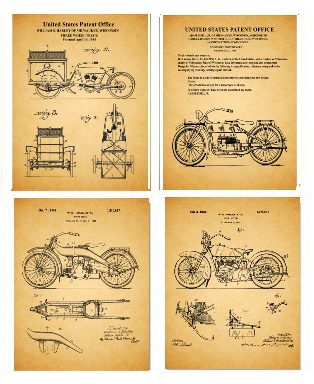 Early Harley Davidson Patent Prints – Four 8x10 Old Paper Look - Unframed