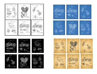 S1 Harley Davidson Patent Prints - BLACK - BLUEPRINT - AGED PAPER or WHITE - Set One