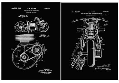 2 Indian Motorcycle Prints Framed