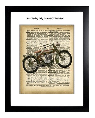 Motorcycle Dictionary Page Harley Davidson Unframed & Matted 11x14