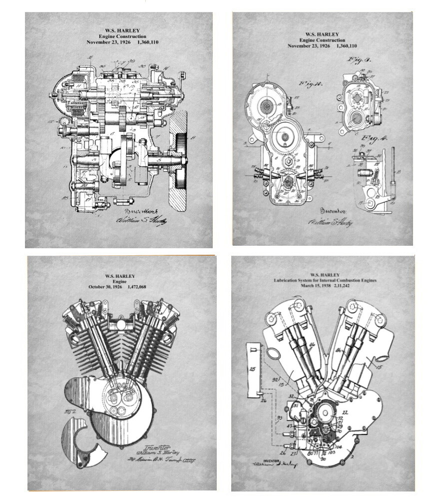 Early Harley Davidson Engine Patent Prints – Four 8x10 Prints - Unframed Gray or Aged Paper