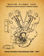 Iconic Harley-Davidson Patent Poster Knucklehead Engine 11 x 14 Unframed Gray or Aged Paper