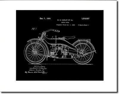 Harley Davidson Patent Print Unframed & Matted to 11x14