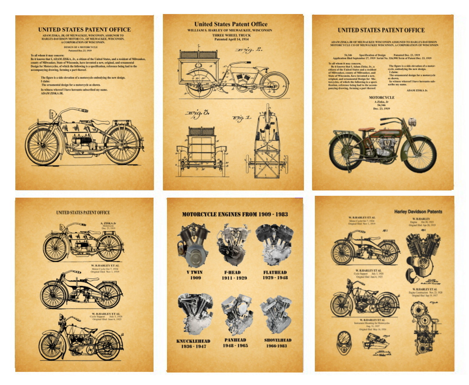 Early Harley Davidson Motorcycle Patents – Six 8x10 Patent Unframed