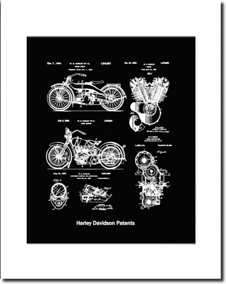 Harley Davidson wall art unframed. Harley patents from 1920 to 1937 arranged in a collage.