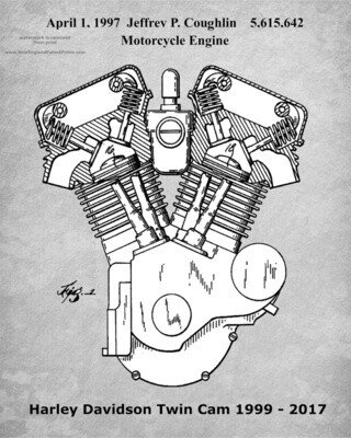 Iconic Harley-Davidson Patent Poster Twin Cam Gray & White 11 x 14 Unframed
