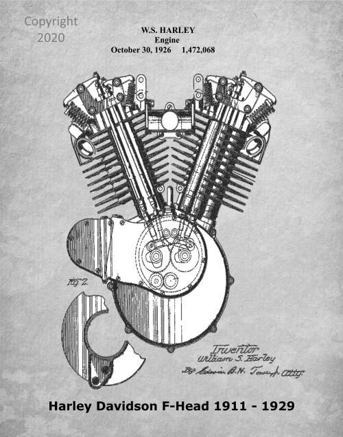 Iconic Harley-Davidson Patent Poster Original Engine Gray & White 11 x 14 Unframed