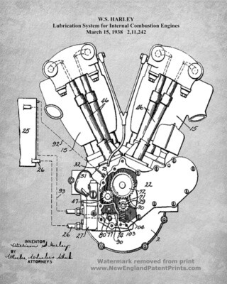 Iconic Harley-Davidson Patent Poster Knucklehead Engine Gray & White 11 x 14 Unframed