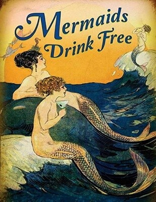 Mermaids Drink Free 11x14 Vintage Art Poster Print